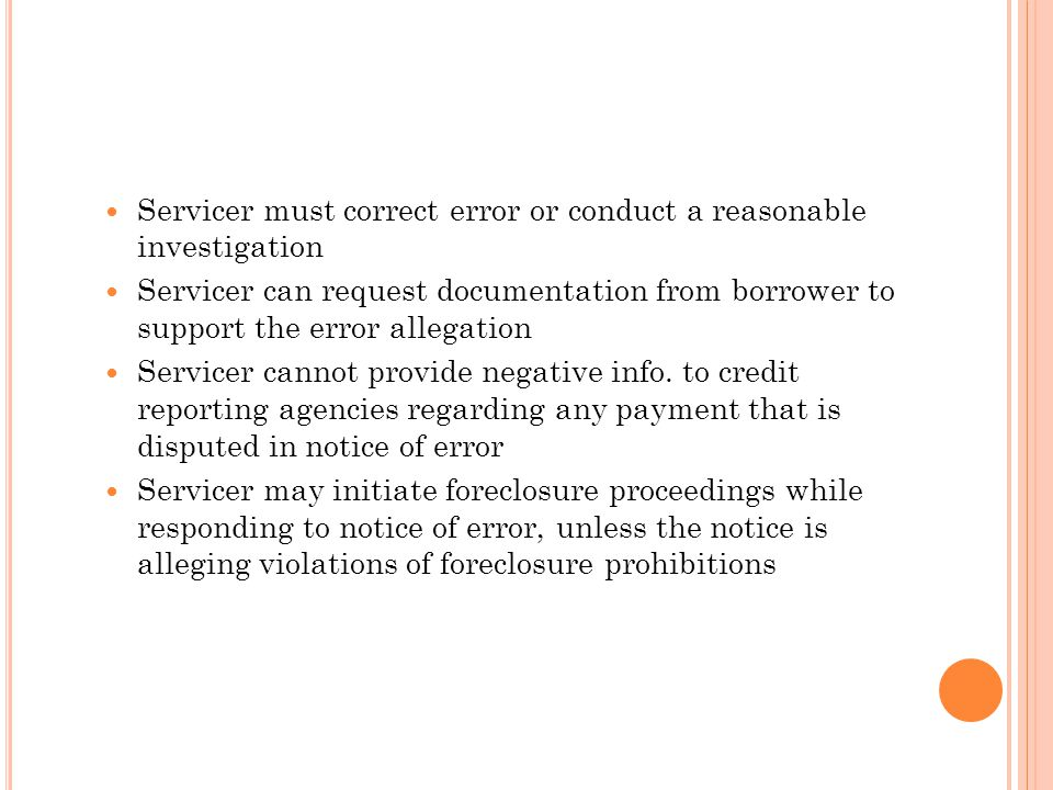 Servicer must correct error or conduct a reasonable investigation
