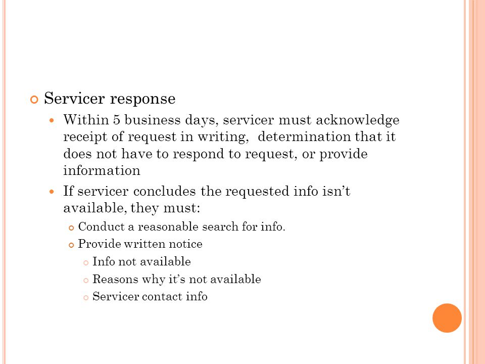 Servicer response