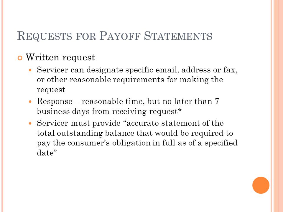 Requests for Payoff Statements