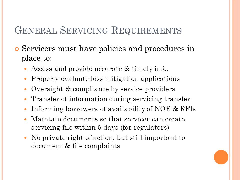 General Servicing Requirements