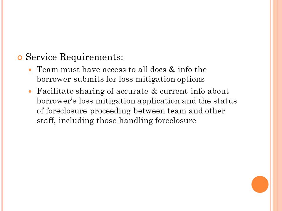 Service Requirements: