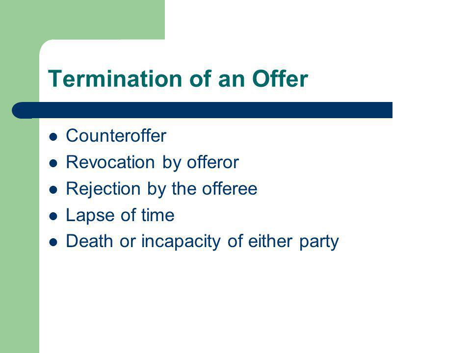 Termination of an Offer