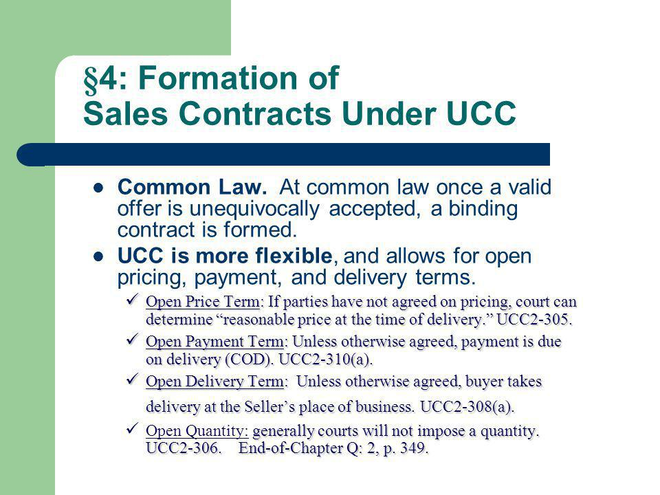 §4: Formation of Sales Contracts Under UCC