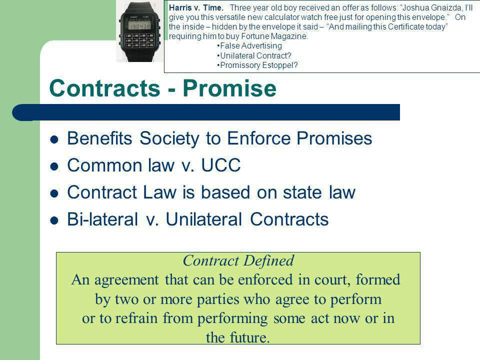 Contracts - Promise Benefits Society to Enforce Promises