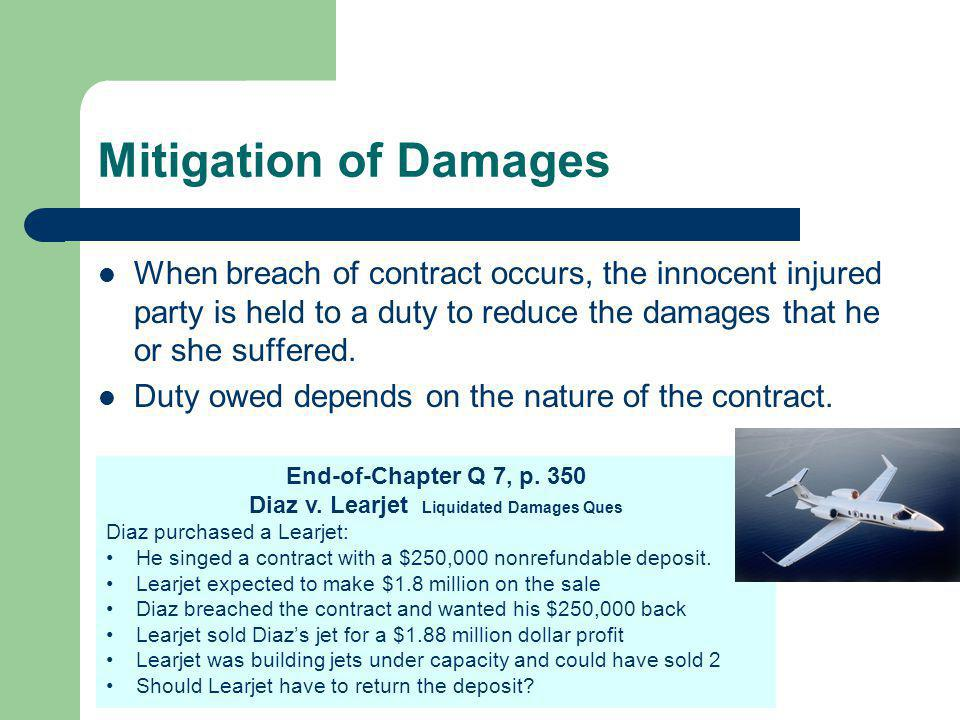 Diaz v. Learjet Liquidated Damages Ques