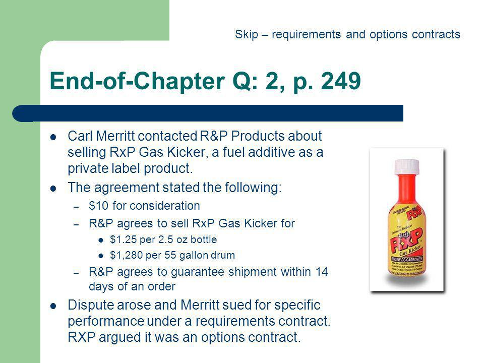 Skip – requirements and options contracts