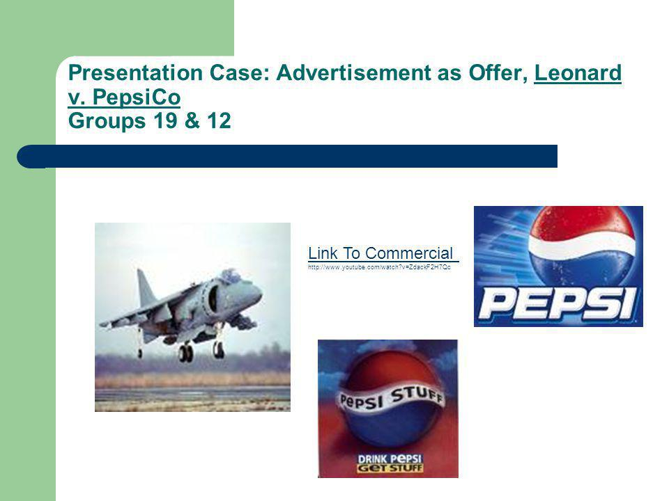 Presentation Case: Advertisement as Offer, Leonard v