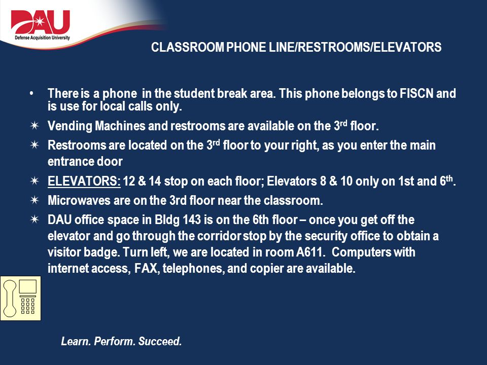 CLASSROOM PHONE LINE/RESTROOMS/ELEVATORS