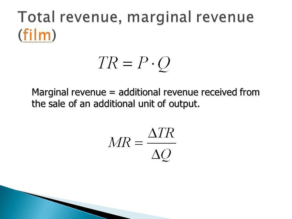 Total revenue, marginal revenue (film)
