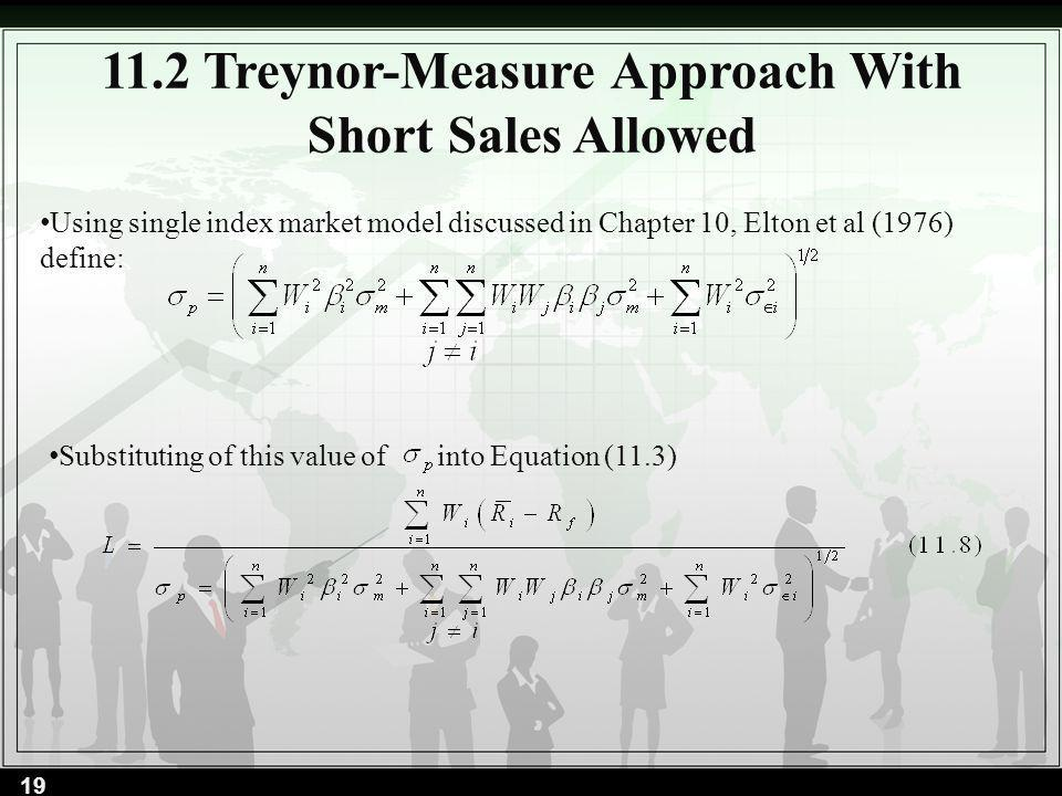 11.2 Treynor-Measure Approach With Short Sales Allowed