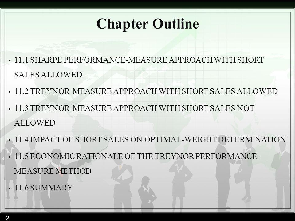 Chapter Outline 11.1 SHARPE PERFORMANCE-MEASURE APPROACH WITH SHORT SALES ALLOWED. 11.2 TREYNOR-MEASURE APPROACH WITH SHORT SALES ALLOWED.