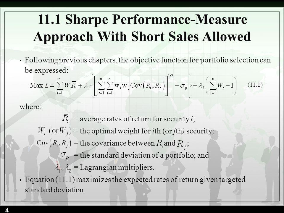 11.1 Sharpe Performance-Measure Approach With Short Sales Allowed