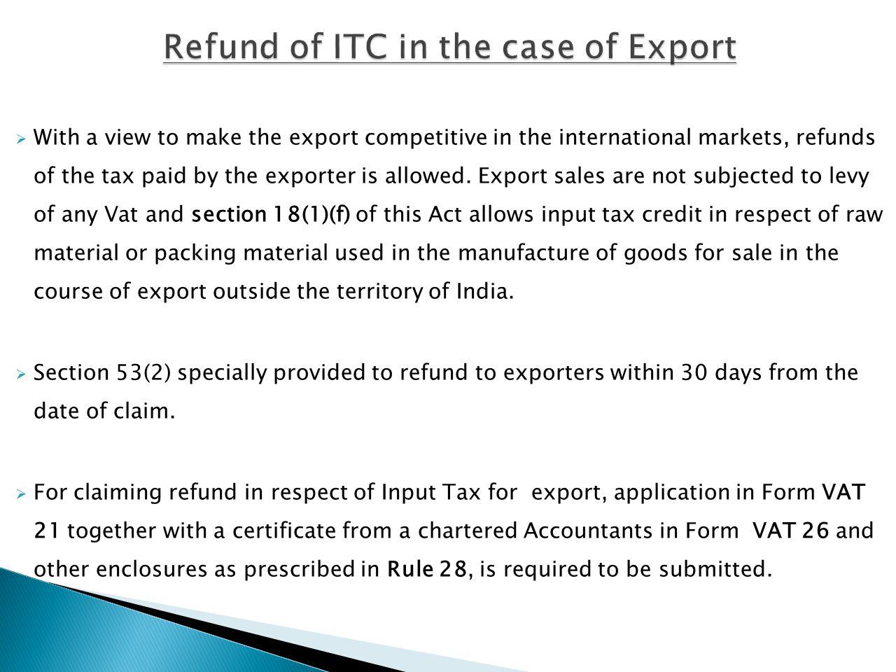 Refund of ITC in the case of Export