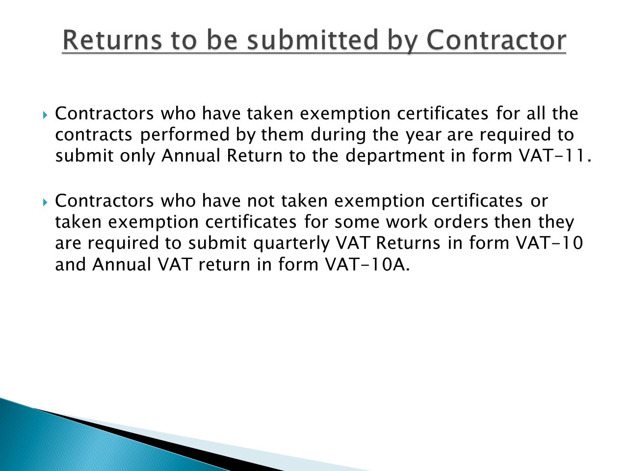 Returns to be submitted by Contractor