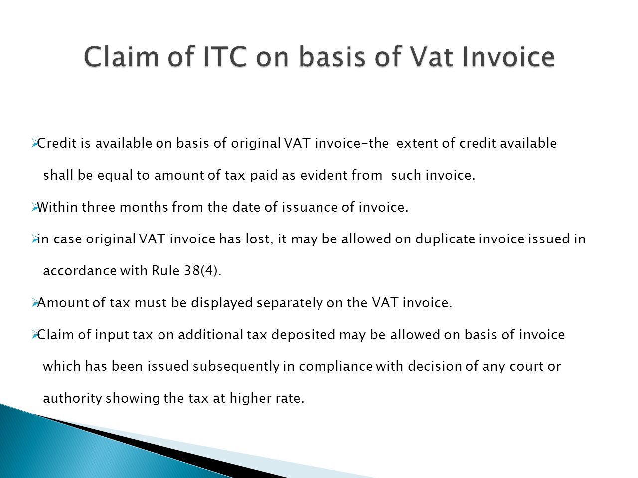 Claim of ITC on basis of Vat Invoice