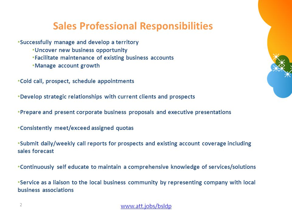 Sales Professional Responsibilities