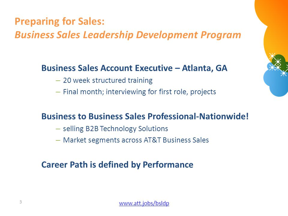 Preparing for Sales: Business Sales Leadership Development Program