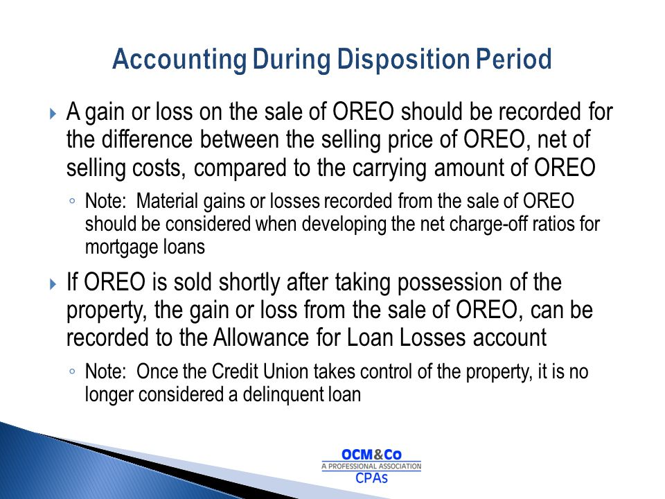 Accounting During Disposition Period