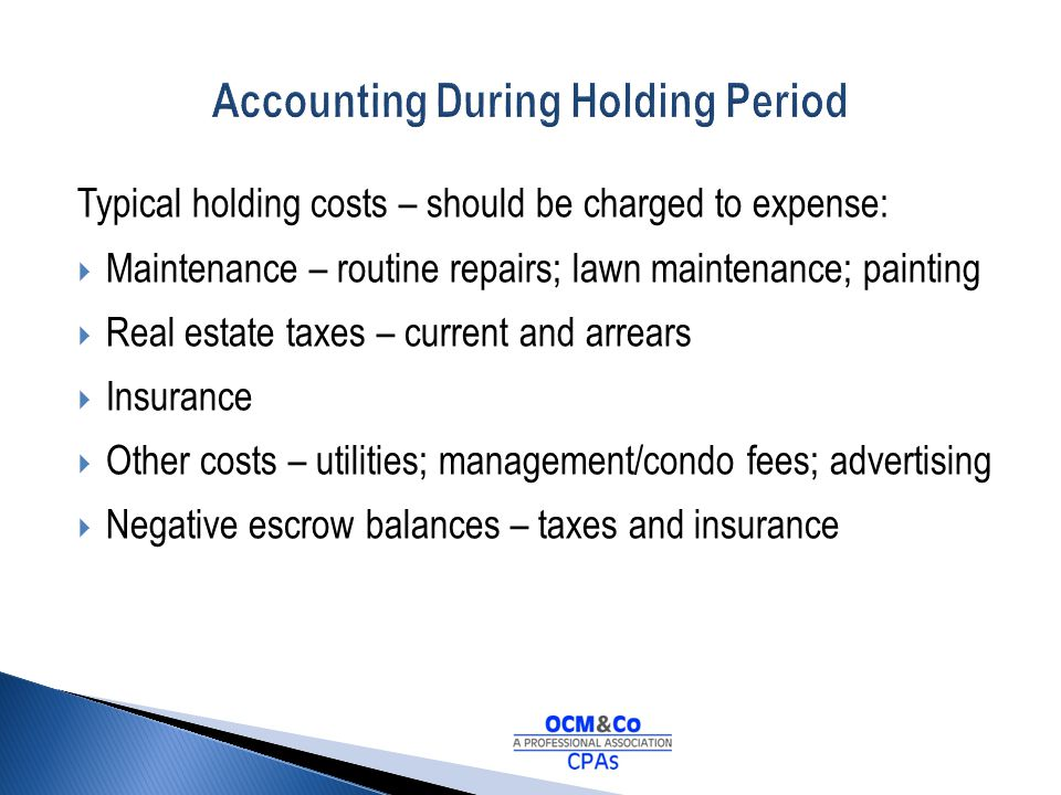 Accounting During Holding Period