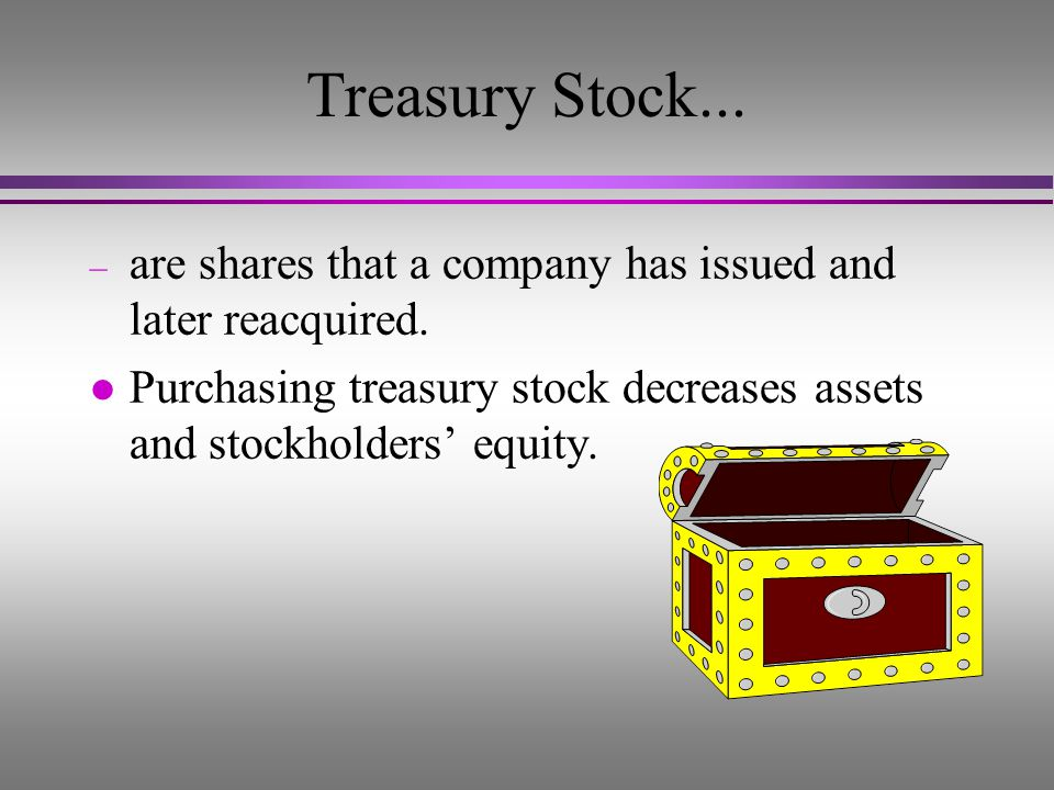 Treasury Stock... are shares that a company has issued and later reacquired.