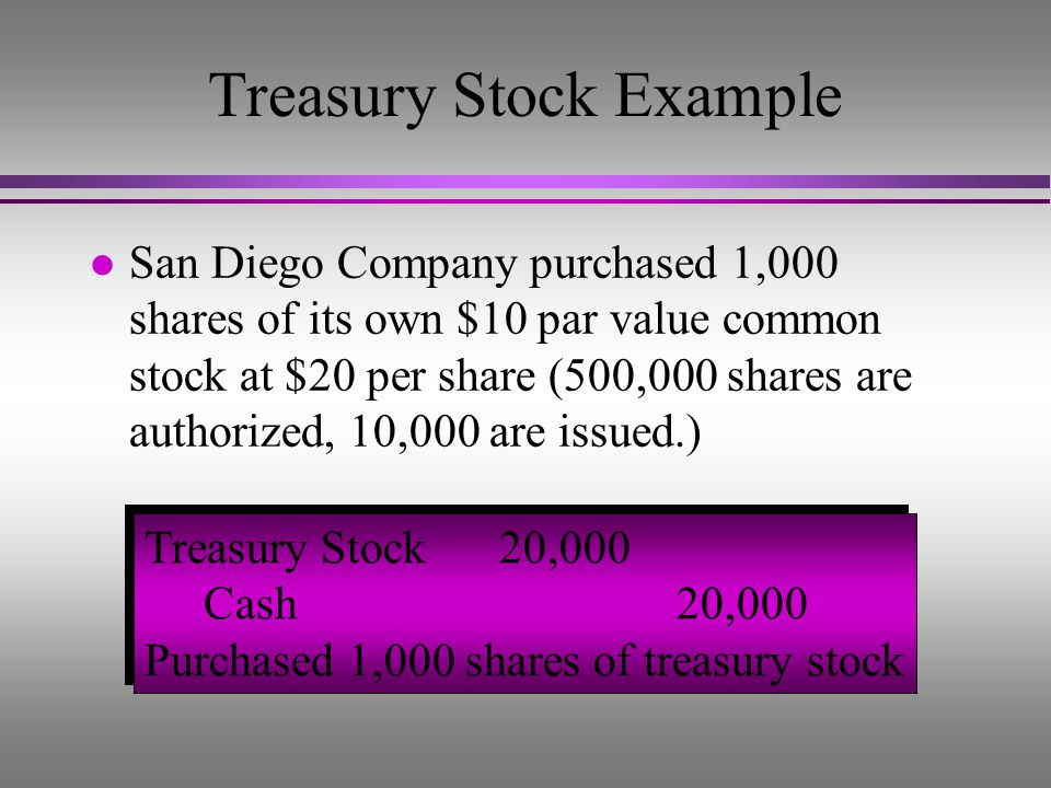 Treasury Stock Example