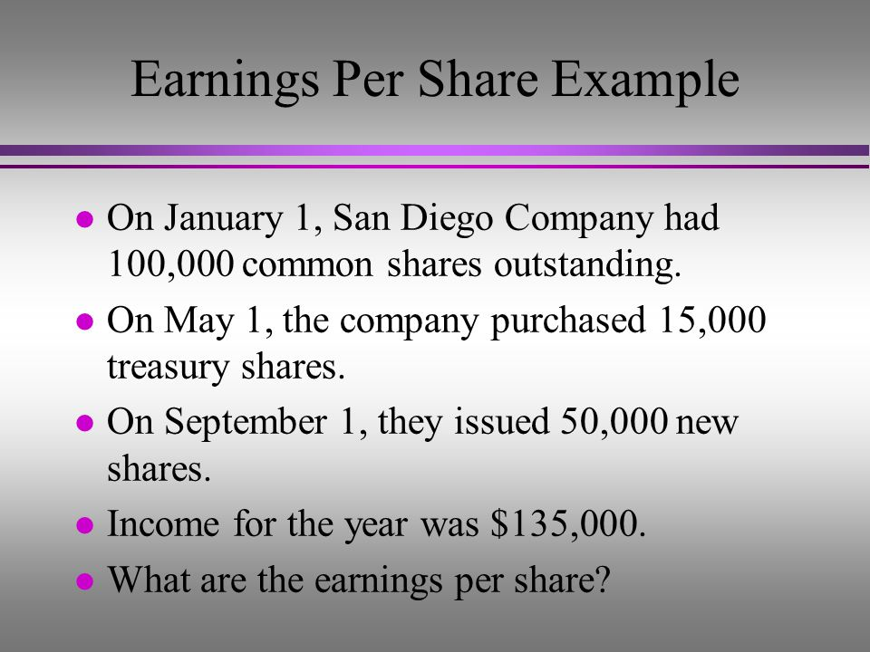Earnings Per Share Example