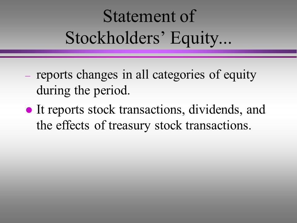 Statement of Stockholders' Equity...