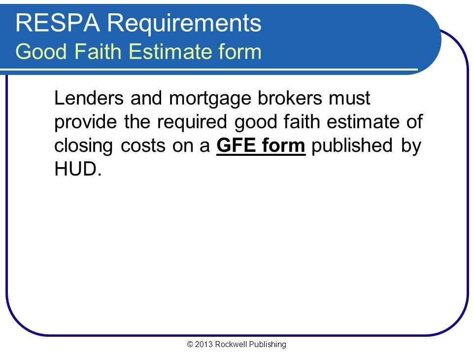 RESPA Requirements Good Faith Estimate form