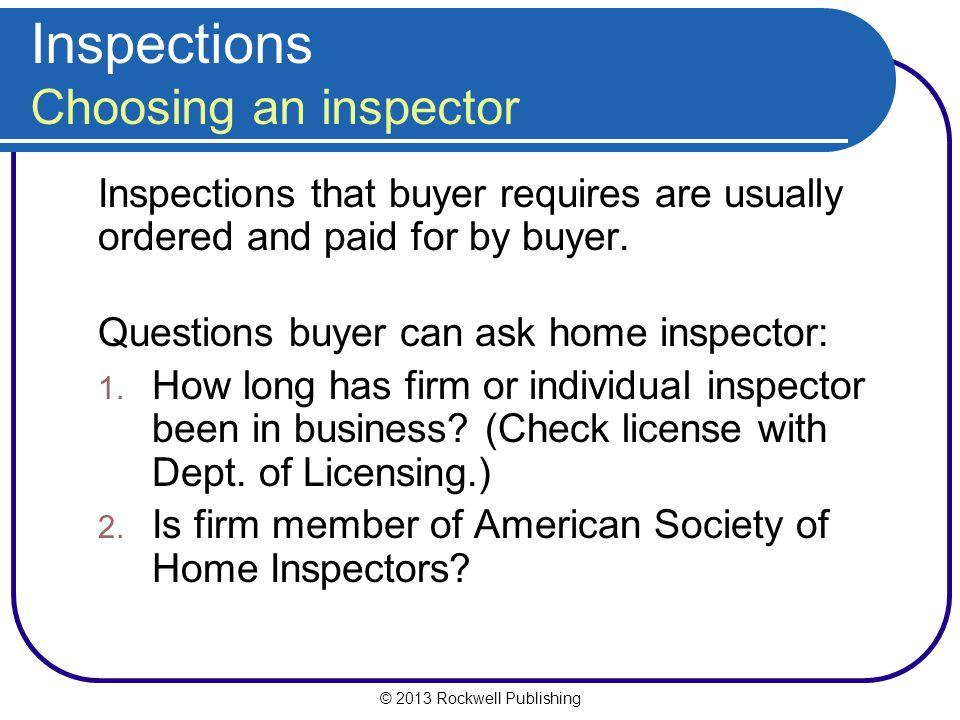 Inspections Choosing an inspector