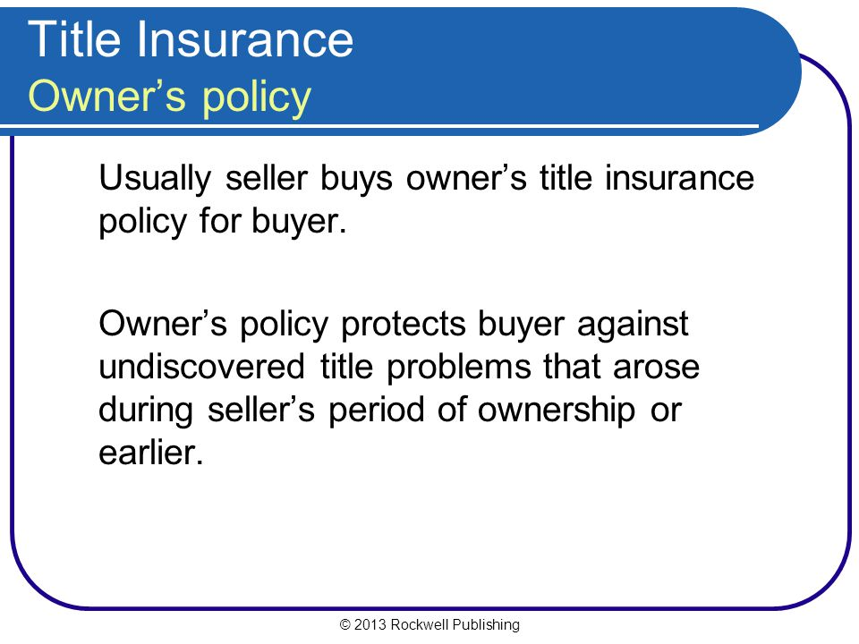 Title Insurance Owner's policy