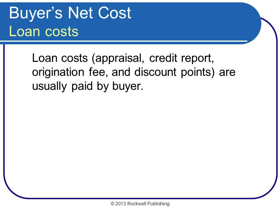 Buyer's Net Cost Loan costs