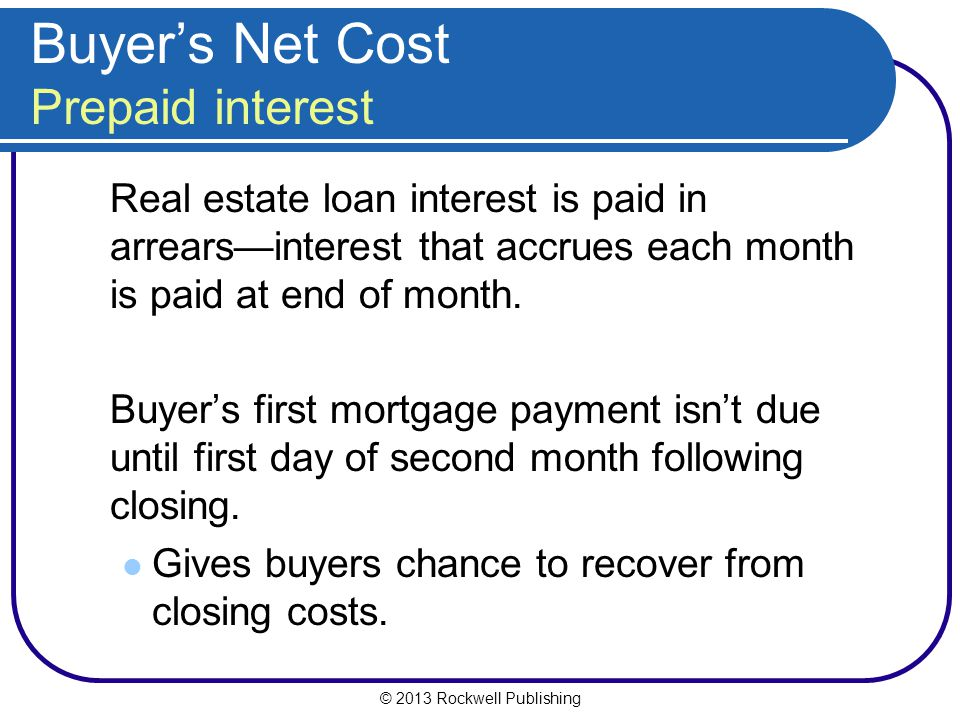 Buyer's Net Cost Prepaid interest