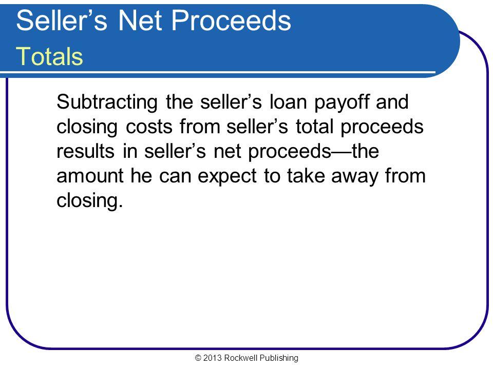 Seller's Net Proceeds Totals