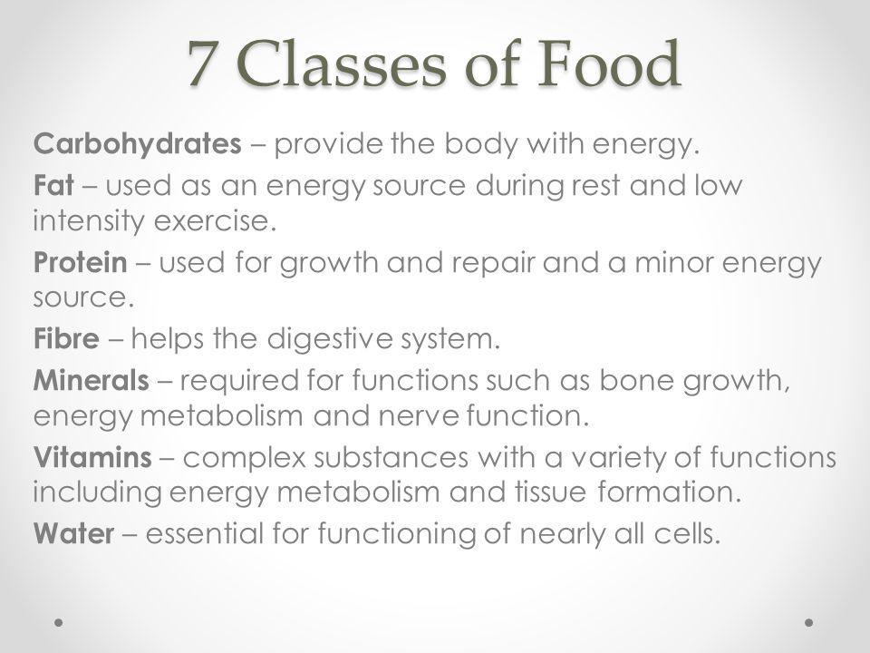 7 Classes of Food