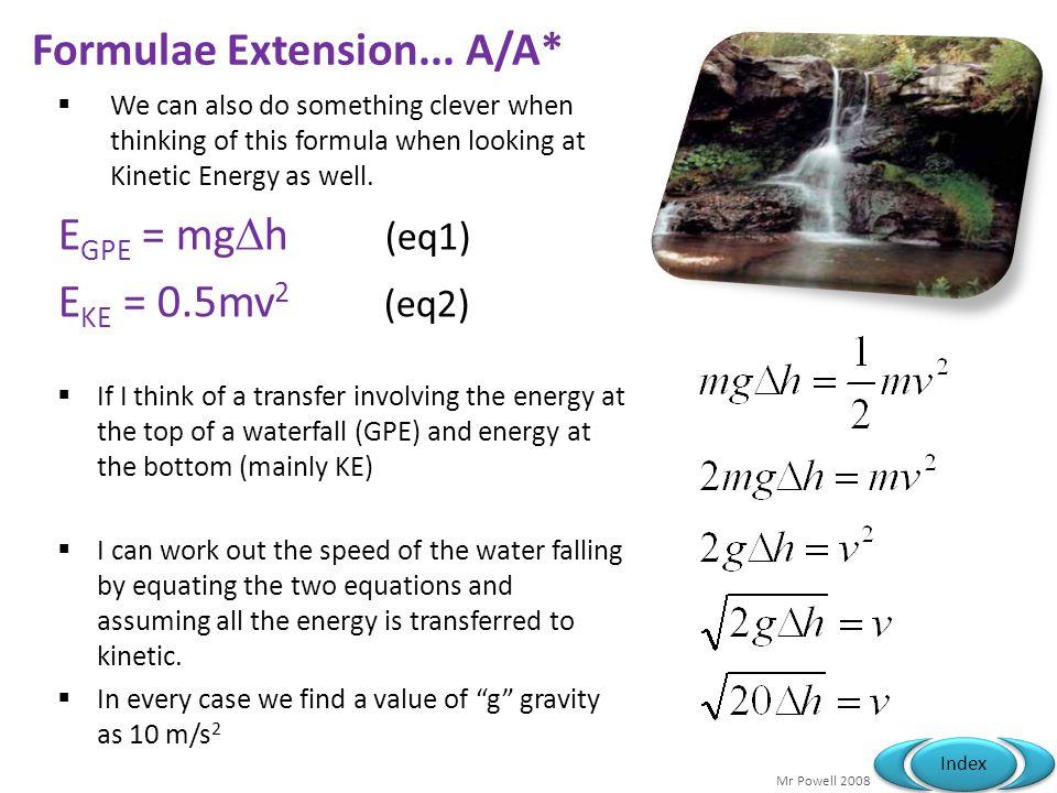 Formulae Extension... A/A*