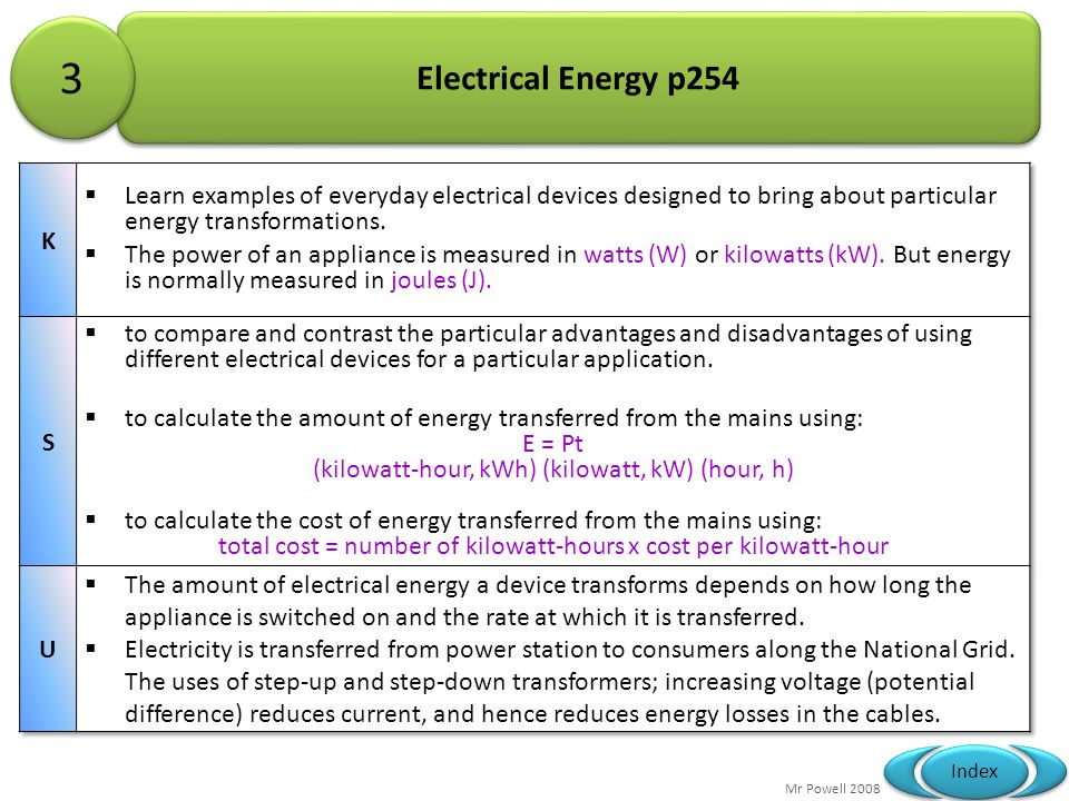 3 Electrical Energy p254. K. Learn examples of everyday electrical devices designed to bring about particular energy transformations.