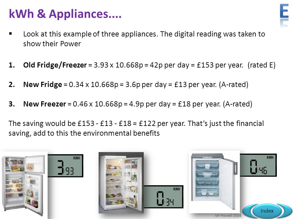 e kWh & Appliances.... Look at this example of three appliances. The digital reading was taken to show their Power.