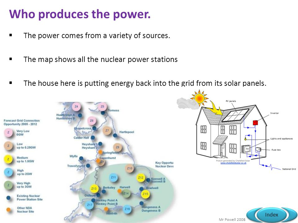 Who produces the power. The power comes from a variety of sources.