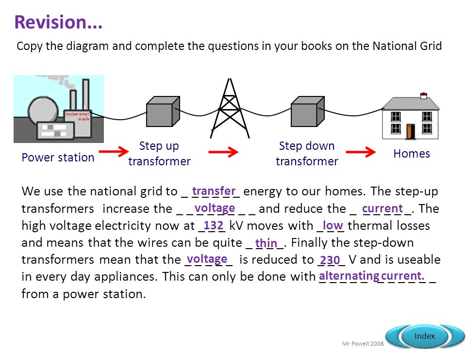 Revision... Copy the diagram and complete the questions in your books on the National Grid. Power station.