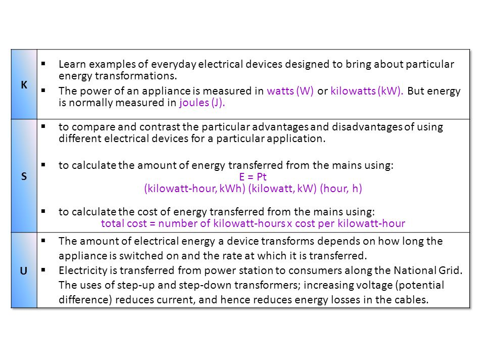 to calculate the amount of energy transferred from the mains using: