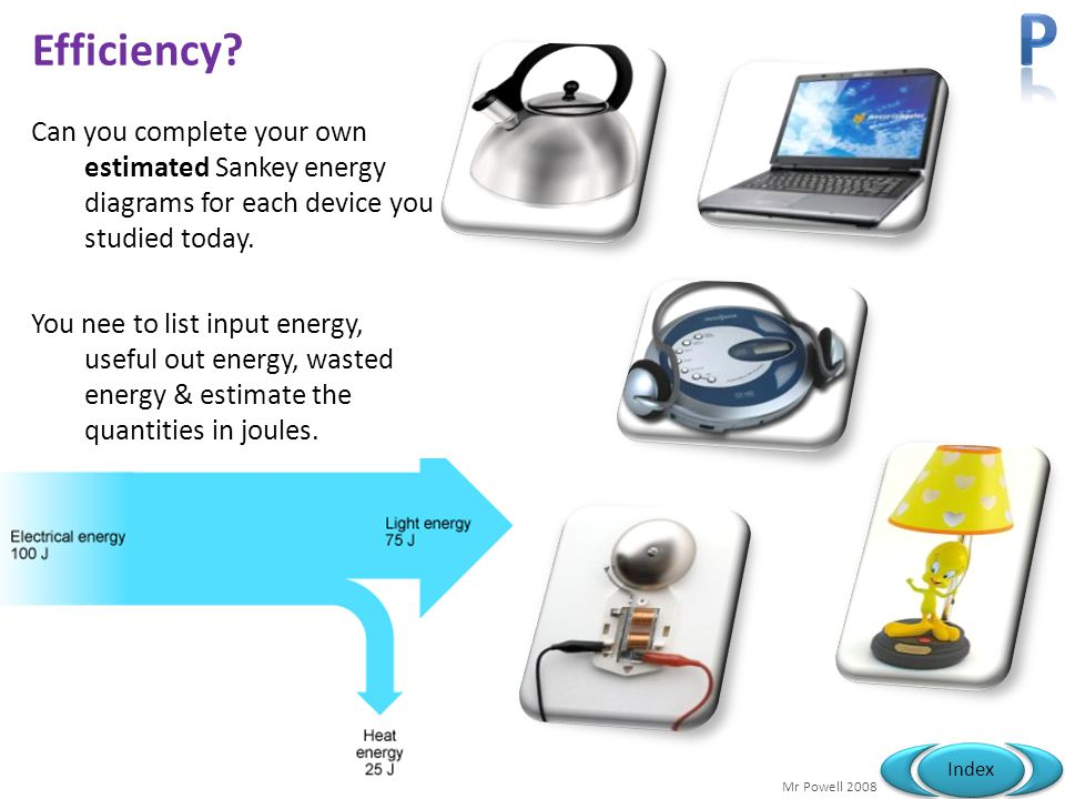 P Efficiency Can you complete your own estimated Sankey energy diagrams for each device you studied today.