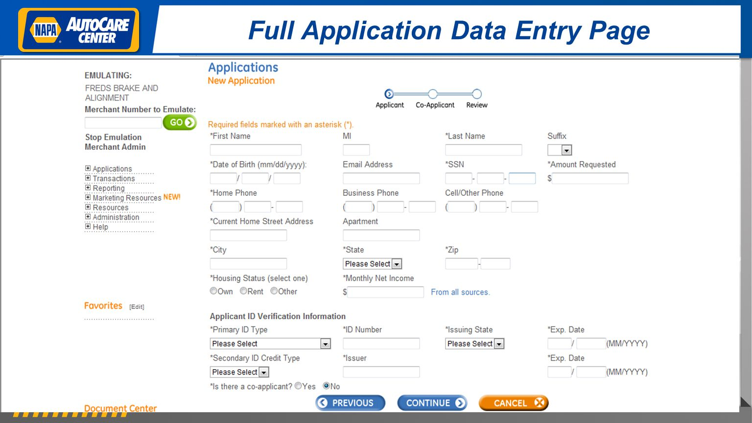 Full Application Data Entry Page