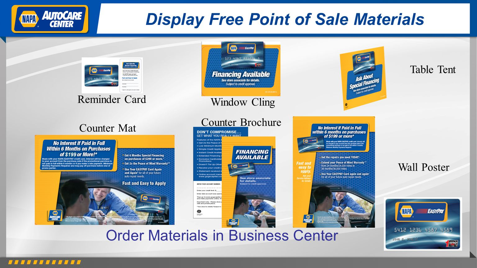 Display Free Point of Sale Materials