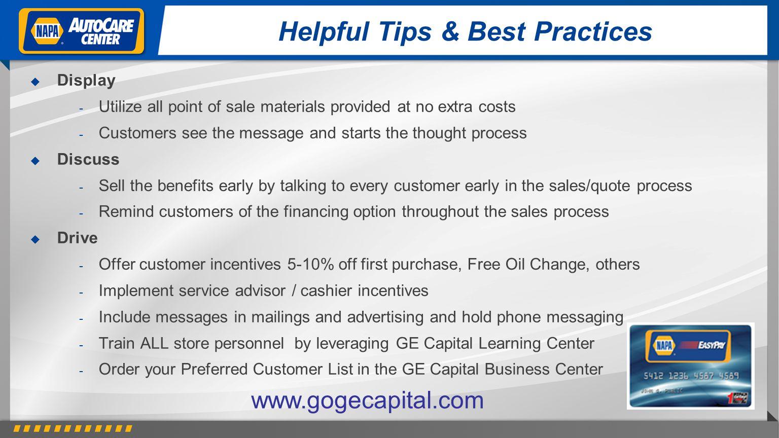 Helpful Tips & Best Practices