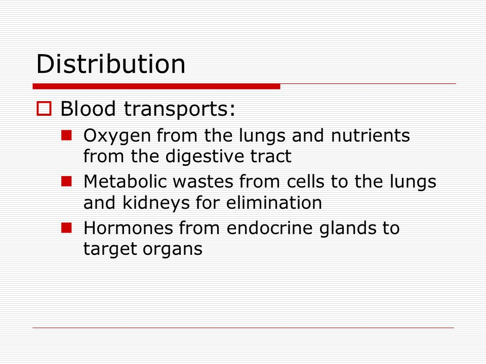 Distribution Blood transports: