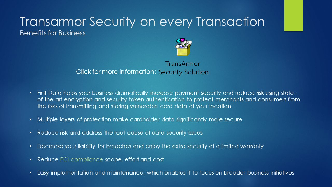 Transarmor Security on every Transaction Benefits for Business