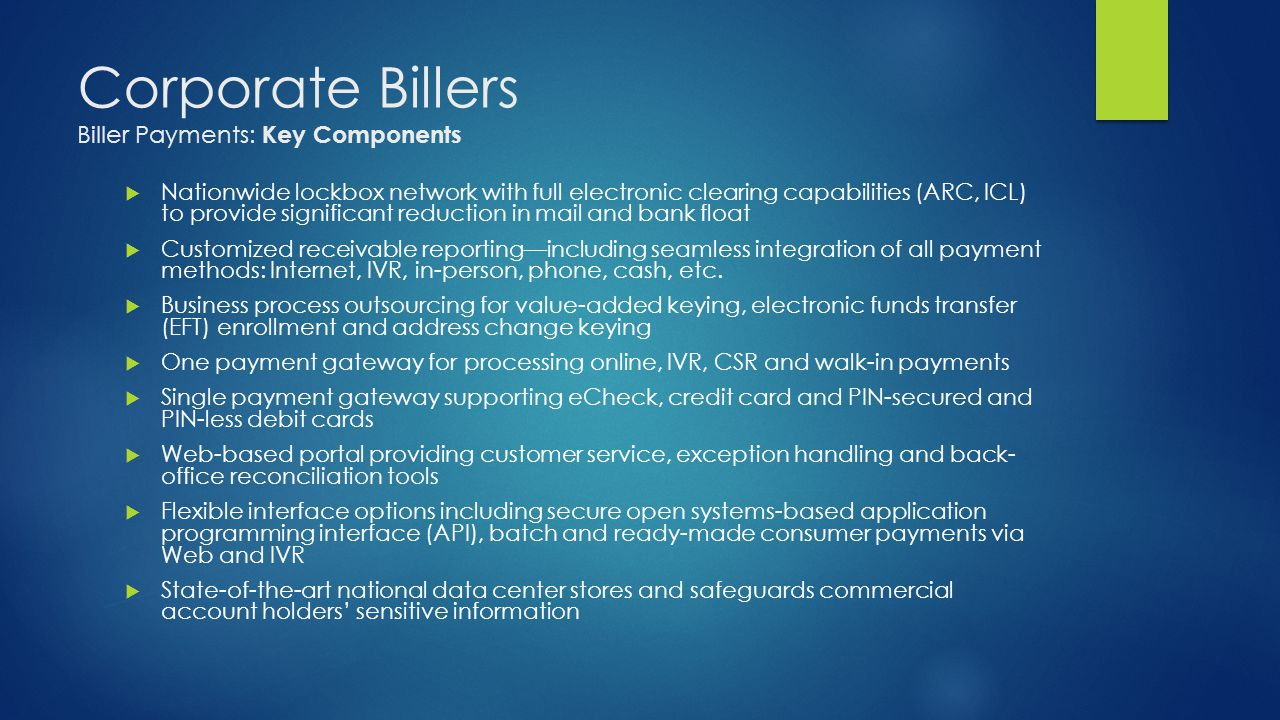 Corporate Billers Biller Payments: Key Components