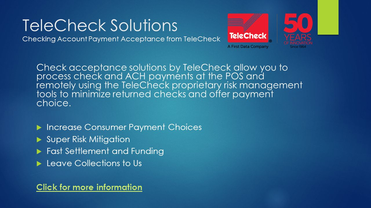 TeleCheck Solutions Checking Account Payment Acceptance from TeleCheck