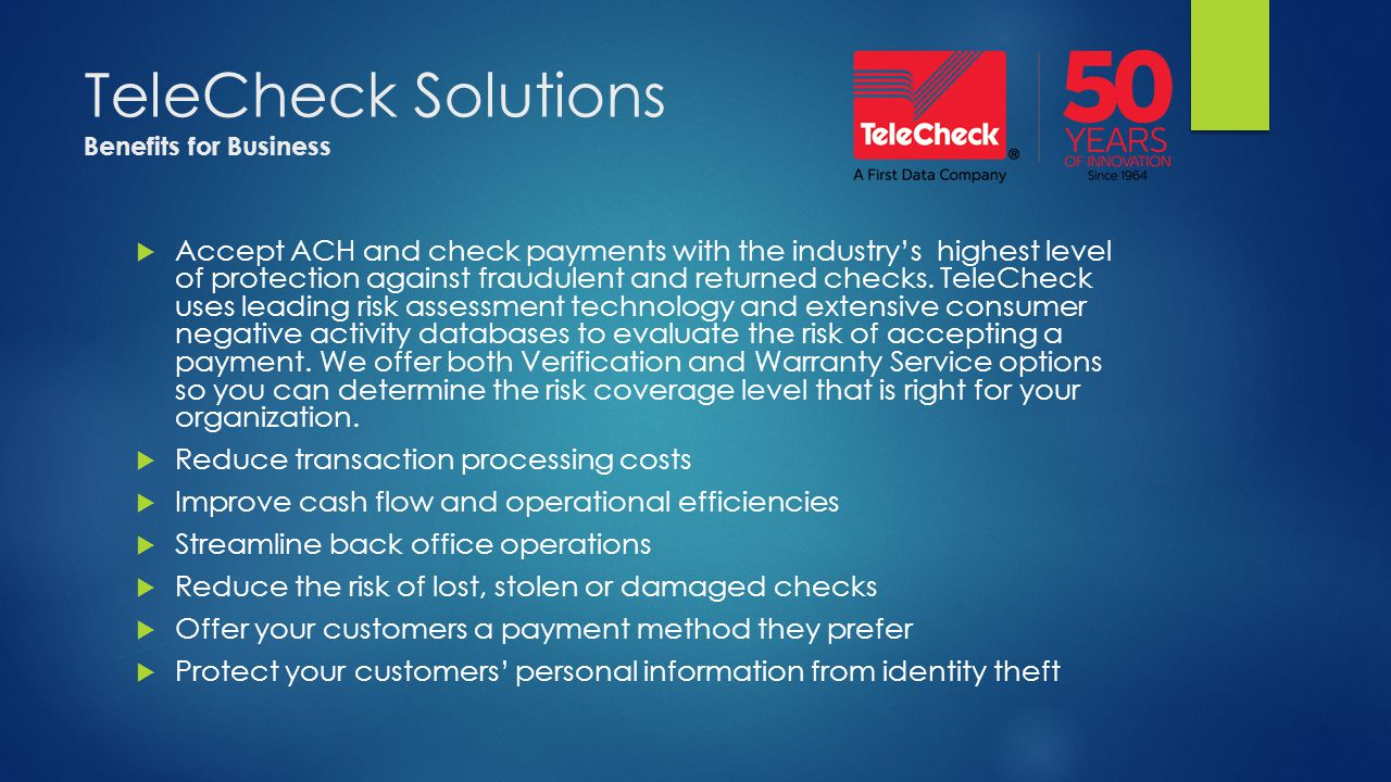TeleCheck Solutions Benefits for Business
