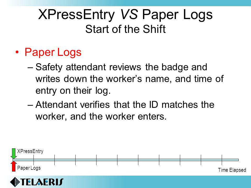 XPressEntry VS Paper Logs Start of the Shift